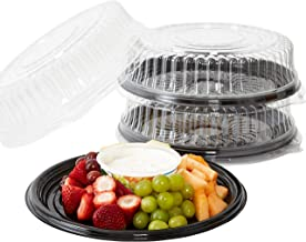 Heavy Duty, Recyclable 12 in. Serving Tray and Lid 3pk. Large, Black Plastic Party Platters with Clear Lids. Elegant Round...