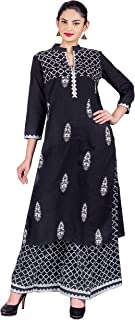 Missprint Women's Indo Western Vintage Style Flat Mandarin Neck 3/4 Sleeve Embroidered Kurta With Pegged Palazzo