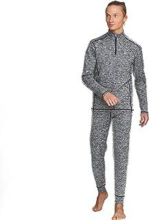 Men's Thermal Base Layer Winter Set Underwear Sports Fitness Workout Grey 2pc Half Zip Jacket & Pants