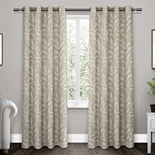 Exclusive Home Curtains Kilberry Woven Blackout Grommet Top Curtain Panel Pair, 52x96, Dove Grey, 2 Count