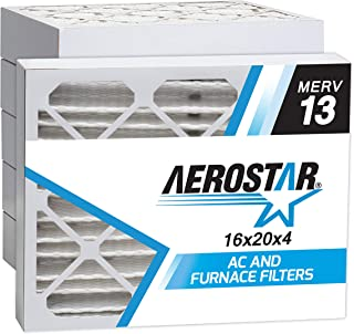 Aerostar 16x20x4 MERV 13 Pleated Air Filter, Made in the USA 15 1/2