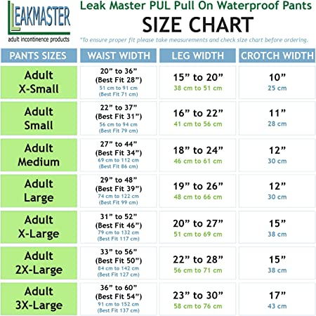 Washable and Reusable Incontinence Pants {X-Large} Adult PUL Waterproof Pants- Comfortable Quiet and Effective Adult Diaper Pant For Men Or Women Made Of Quality Poly Urethane Laminate LeakMaster