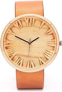 Relojes de Madera Mujer con Correa Piel, Caja de Madera Natural, Reloj Ligero y Elegante, Caja para Relojes de Madera, 42 ...