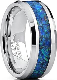 Ultimate Metals Co.8MM Bague de Mariage Tungst/ène Plaqu/é Or Avec Incrust/é de Fibre de Carbone Noire et Bleu Pour Homme