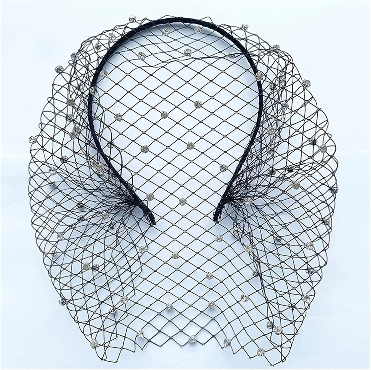 HAQTXI Bridal Crystal Birdcage Black Face Net Mask Hair Jewelry Accessories Veils Charming Wedding Fascinators with Comb for Women and Girls (Color : 1-Black)