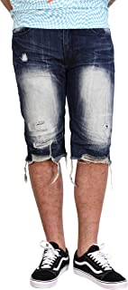 Smoke Rise Men/'s Rip and Repair Contrast Denim Shorts
