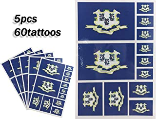 JBCD Connecticut Temporary Tattoos 60 Pcs Stickers, Waterproof tattoos State Flags Tattoo Patriotic Face Tattoos, Suitable for Sports Event Parties and Pride Decorations