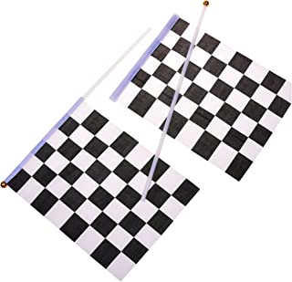 KLOUD City 20 Pcs 8'' x 6'' Checkered Flag Racing Polyester Flags on Plastic Stick