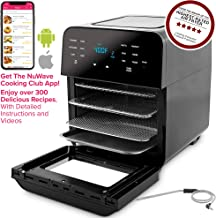 NUWAVE BRIO 14-Quart Large Capacity Air Fryer Oven with Digital Touch Screen Controls and Integrated Digital Temperature Probe; 3 Heavy-Duty NEVER-RUST Stainless Steel Mesh Racks Great for Multi-Level Family Meals; Drip Tray; Rotisserie Kit includes Skewers and Basket; 100 Programmed Presets and the Ability to Store and Recall Your Own Programs; 1800 Watts w/ Adjustable Wattage Control - 900, 1500 & 1800; Advanced Functions include PROGRAM, SEAR, STAGE, PREHEAT, DELAY, WARM, ROTISSERIE, w/ LIGHT