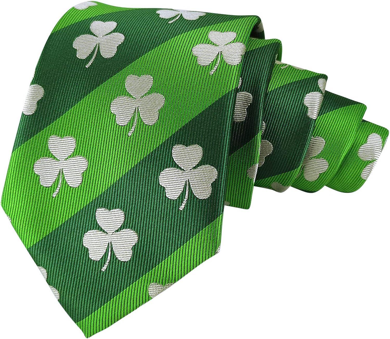 Men's Exquisite Woven Tie Department store Clover Stripes Green Neckties 100% quality warranty!