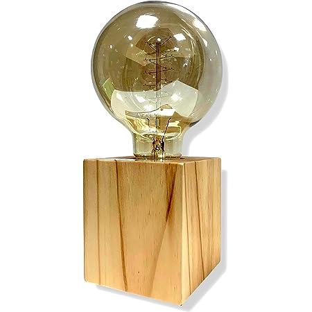 Cflagrant® Support de Douille E27 en Bois carré Lampe de Table Edison Prise EU Standard Luminaire de Décoration Pour Bureau, Maison, Café, Bar, Restaurant
