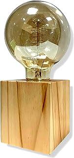 Cflagrant® Support de Douille E27 en Bois carré Lampe de Table Edison Prise EU Standard Luminaire de Décoration Pour Burea...