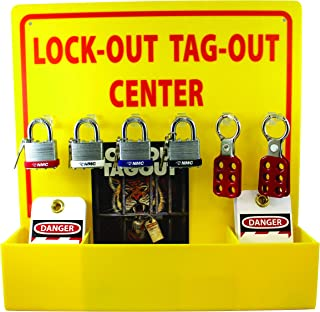 NMC LOTO3 Lock-Out Tag-Out Center Kit with Handbook and 10 Lockout Tags, 16