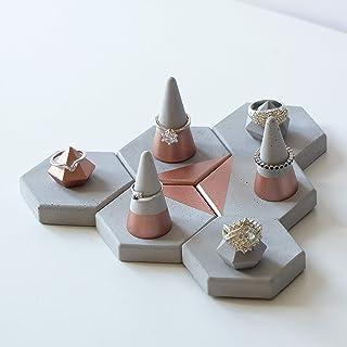 Atelier Ideco - Conjunto de 12 Pantallas de Color Rosa Joyas de Oro, Conos Y Mini Soportes de Diamantes Anillos de Hormigón