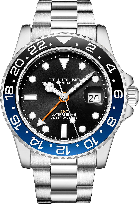 Stuhrling Reloj original para hombre de acero inoxidable con triple fila, cuarzo suizo, doble hora, fecha rápida con corona de rosca, resistente al agua hasta 10 ATM