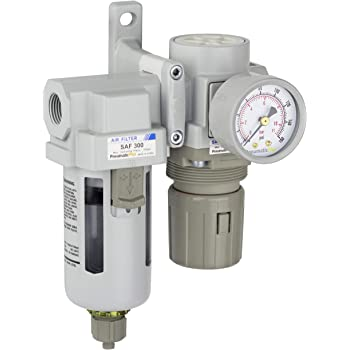 PneumaticPlus SAW2000M-N02BG-MEP Miniature Compressed Air Filter Regulator Combo Piggyback 1//4 NPT Manual Drain Metal Bowl Gauge Bracket