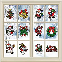 ROYBENS Christmas Window Clings Decorations 12 Pack Xmas Party Stickers Decal Ornaments Holiday Winter Wonderland White Decorations Ornaments Party Supplies Snowflake Snowman Christmas Tree Pattern