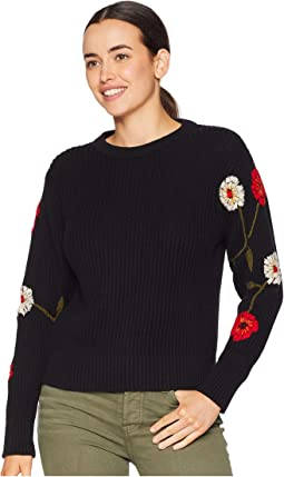 Embroidered Sleeve Pullover Sweater
