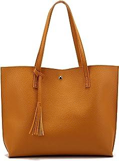 Nodykka Women Tote Bags Top Handle Satchel Handbags PU Pebbled Leather Tassel Shoulder Purse