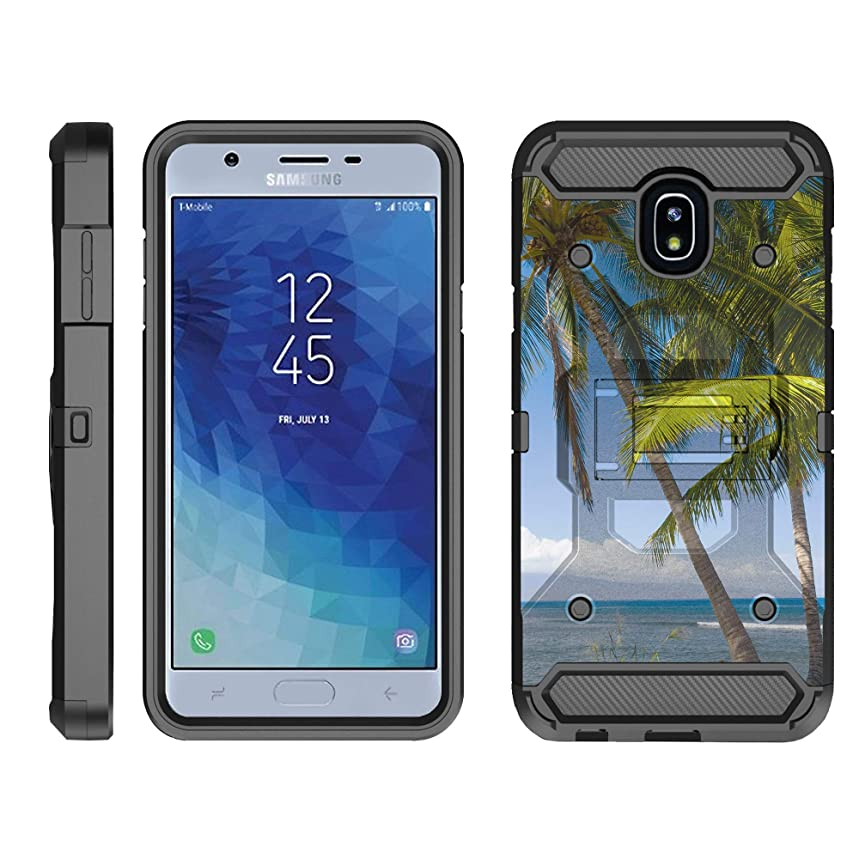 TurtleArmor | Compatible Samsung Galaxy J3 (2018) Case | J337 [Armor Pro] Full Body Armor Cover Stand Rugged Hybrid Holster Belt Clip Case Ocean Beach - Coastal Shore