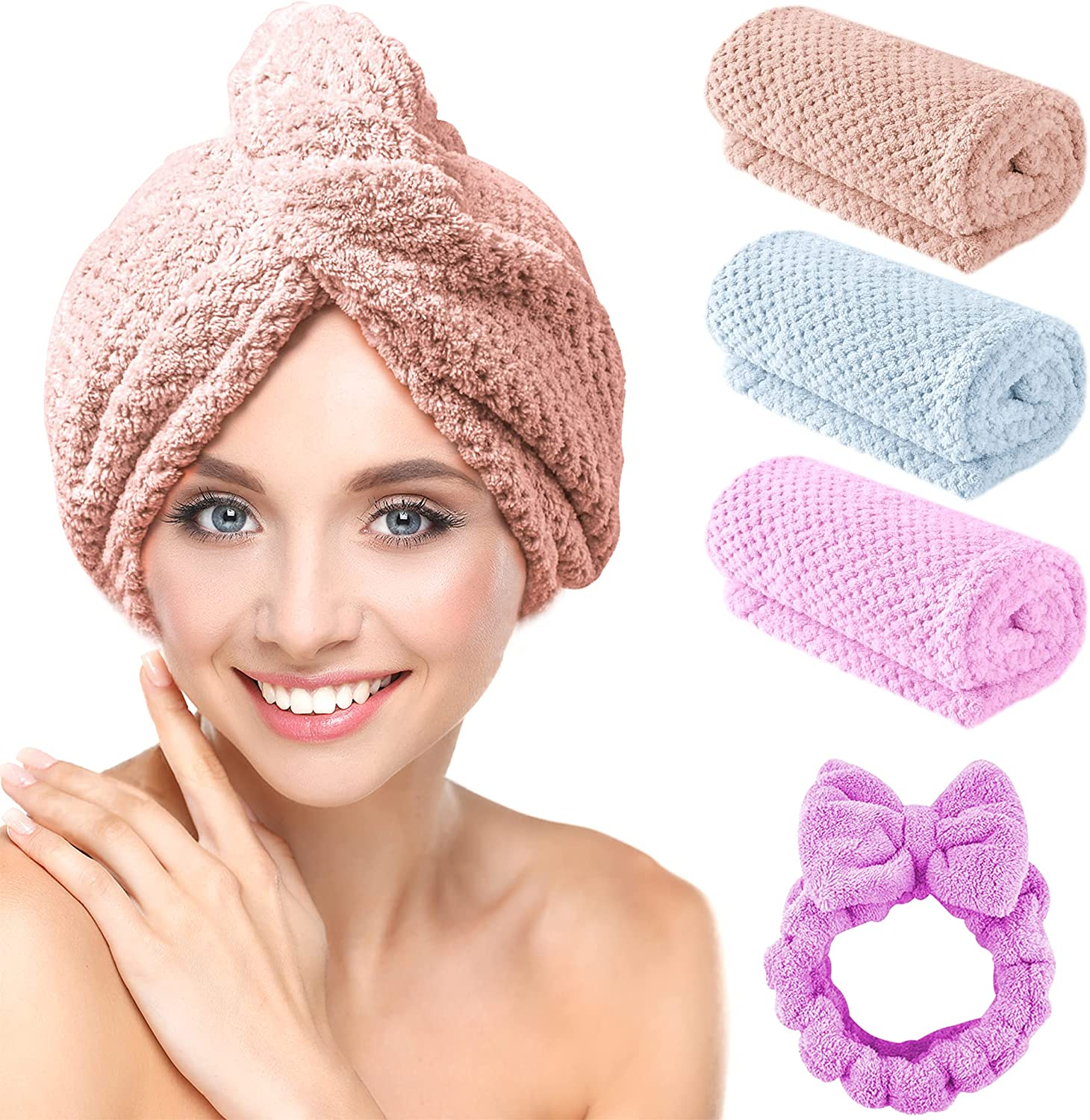 Microfiber Factory outlet Hair Towel Wrap Mail order CHOOBY 3+1 Pack Quick Dry