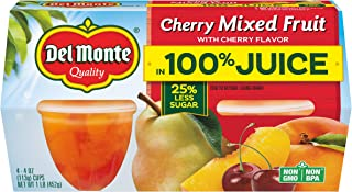 Del Monte Cherry Mixed Fruit Snack Cups in 100% Juice, 4-Ounce, 4 Cups (Pack of 6)