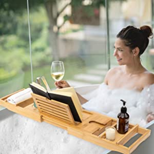 Lifestyle Expandable Bath Tub Tray - A Lovely Expandable Wooden Tray with Space for Wine Glass, Book/iPad Stand, Towels, and Bathing Gel. Great for Relaxation After Works and Family Activities.