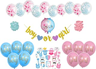 EZParty Gender Reveal Boy or Girl (54 Pieces) Party Decorations Decor Supplies | Blue and Pink Themed Baby Shower | Latex Foil Balloons Confetti Photo Booth Props Gold Glitter Banner