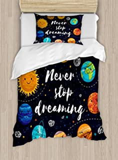 Ambesonne Saying Duvet Cover Set, Outer Space Planets Star Cluster Solar System Moon Comets Sun Cosmos Illustration, Decorative 2 Piece Bedding Set with 1 Pillow Sham, Twin Size, Navy Orange