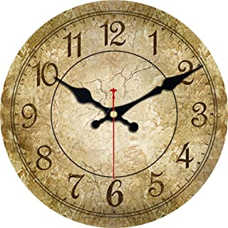 ShuaXin Silent Wooden Round Wall Clocks,6 Inch Small Simple Retro Brown Decorative Battery Operated Wall Clocks for Bedroom,Study Room,Dining Room