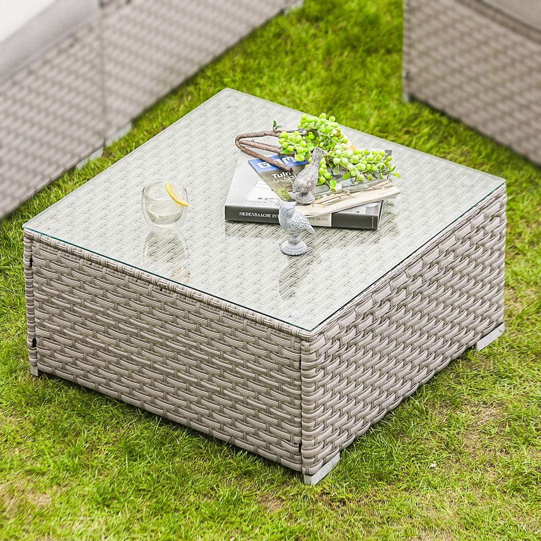 COSIEST In stock Outdoor Furniture Warm Portland Mall Gray Wicker Glass-Top Coffee Tabl