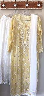Lucknow Chikankari Suit/Kurta, Palazzo and dupatta/Hand embroidered