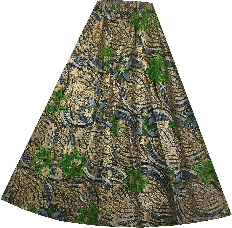 Decoraapparel Womens Stylish Long Ankara Maxi Flared Wax Fabric Traditional Skirts