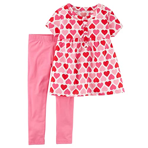 26f921be15349 Carter's Baby and Toddler Girl's Valentine's Day Pink and Red Heart Shirt  and Leggings Set