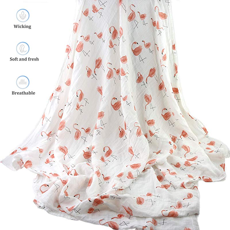 Houwsbaby Bamboo Muslin Swaddle Blankets With Animal Printing For Babies 48inch Flamingo