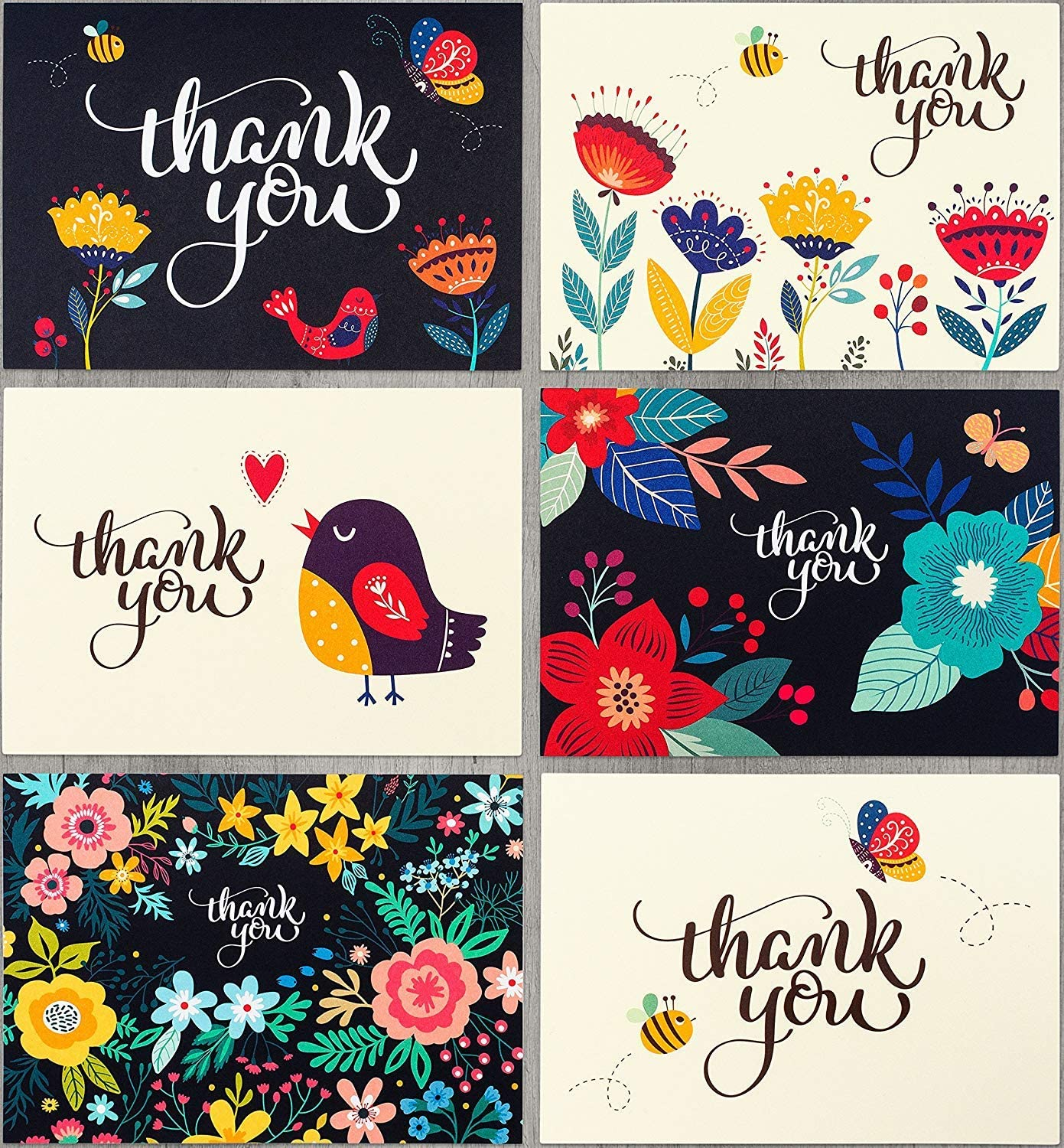 Spark Ink Super beauty Max 72% OFF product restock quality top 36 Floral Thank You Cards Envelopes with Elegant Than