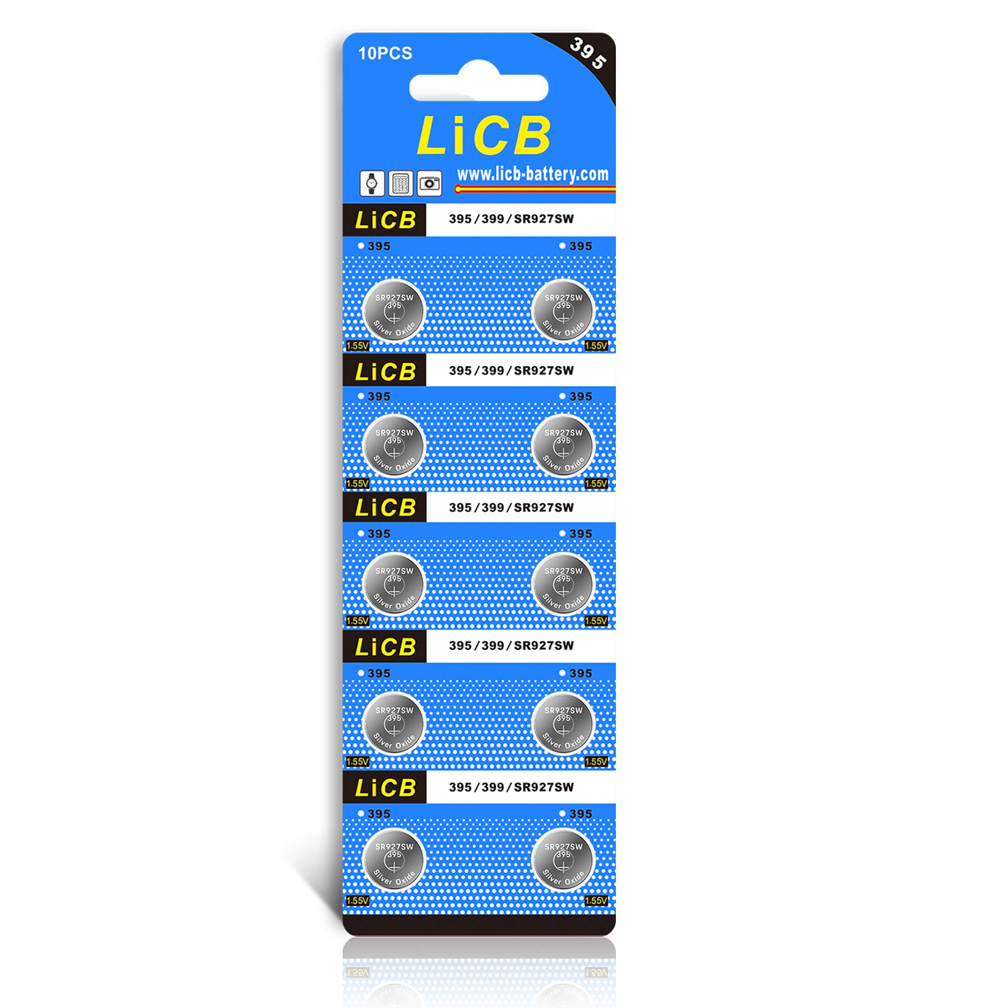 LiCB 10 Pack 395 SR927SW 399 Watch Battery,Long-Lasting & Leak-Proof,High Capacity Silver Oxide 1.55V Button Cell Batteries for Watch