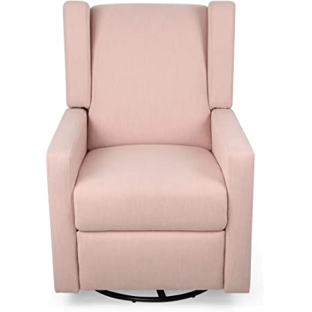 Amazon Com Christopher Knight Home Patricia Upholstered Swivel Recliner Blush Black Furniture Decor
