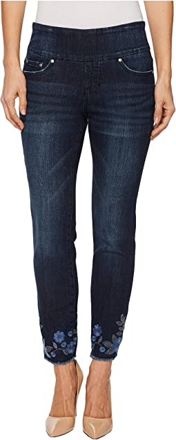 Amelia Slim Ankle Pull-On Jeans with Embroidery in Meteor Wash