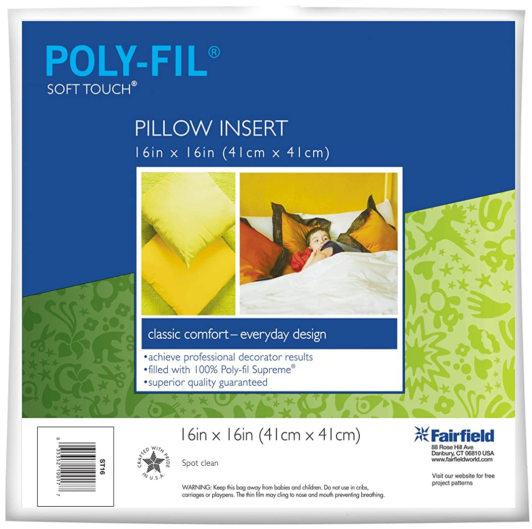 Fairfield Poly-Fil Soft Touch Square Pillow, 16-Inch, White, 1 Pillow