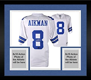4cfffac35e5 Framed Troy Aikman Dallas Cowboys Autographed Proline White Jersey with HOF  2006 Inscription - Fanatics Authentic