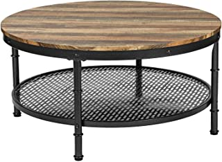 IRONCK Industrial Round Coffee Table for Living Room, Round Cocktail Table with Storage, Sturdy Pipe Legs, Vintage Brown