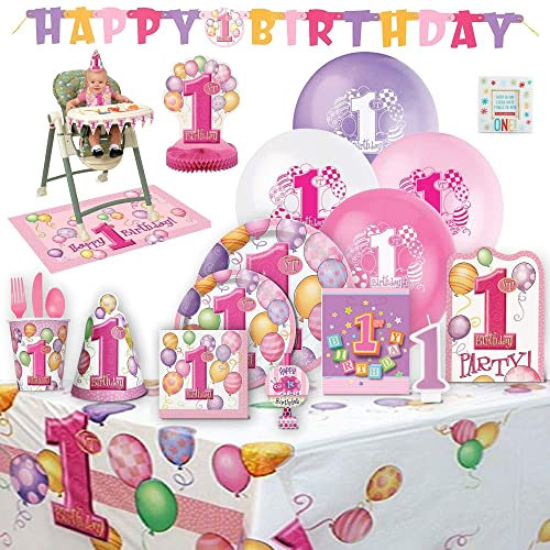 Babys 1st Birthday Party Supplies Girl For 8 Guests