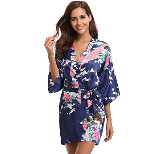 6a977af9e962a Aibrou Women's Kimono Robe Satin Peacock Bathrobe Short Silk Bridal Robe