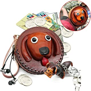 Coin Purse keychain Cloure Handware Small Animal Funny Eco Friendly Novelty Dog on Chain with Key Ring for Women and Girls