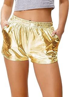 Women's Yoga Hot Shorts Shiny Metallic Pants with Elastic Waist