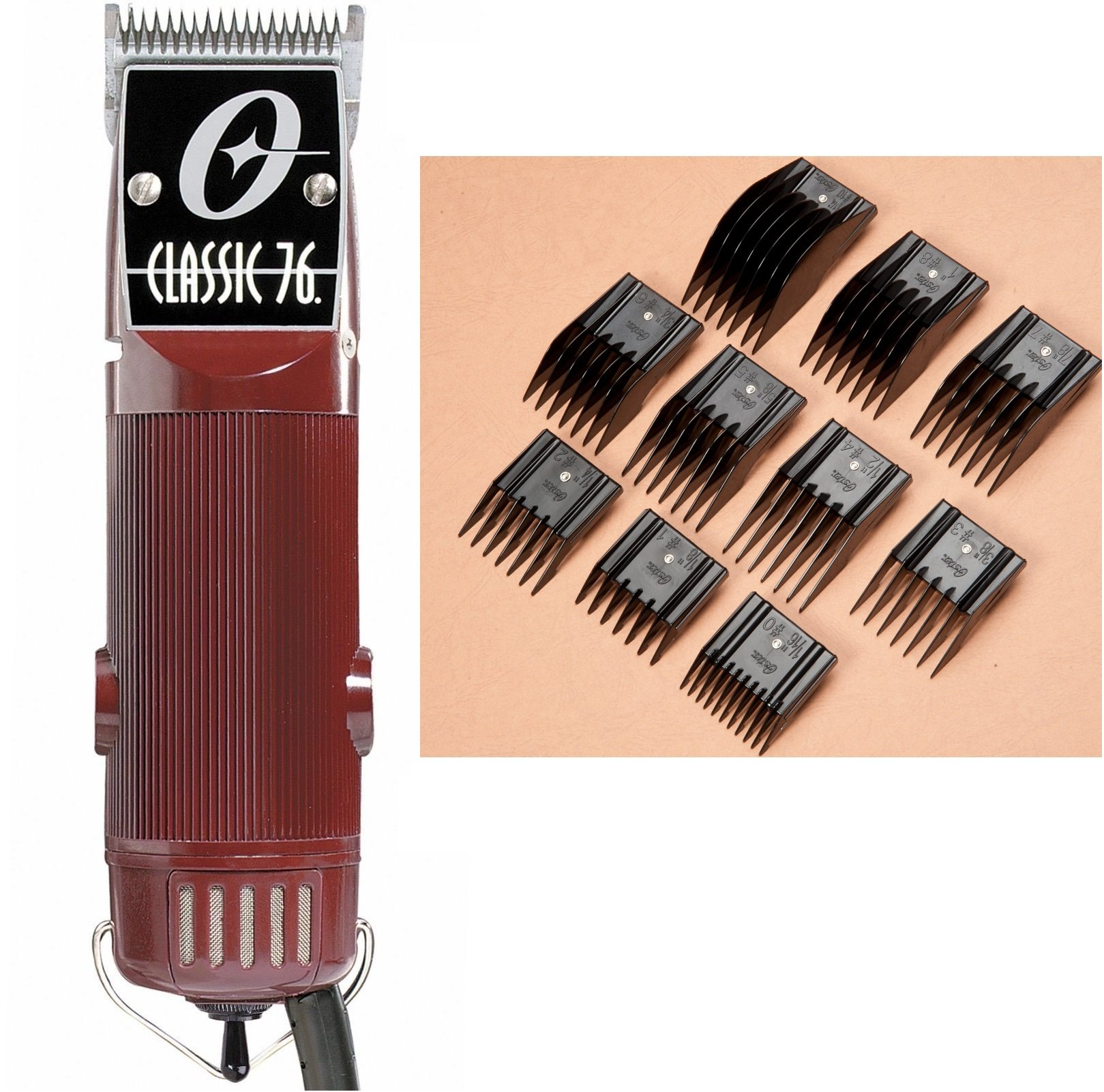 Oster Classic 12 Hair Clipper with 12 Blade and 12-Piece comb Guide set  (Renewed)