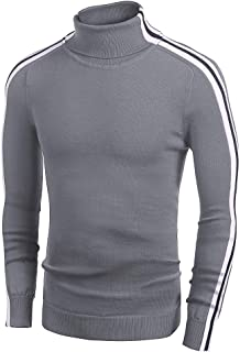 Men's Slim Fit Turtleneck Sweater Casual Knitted Pullover Striped Sweater