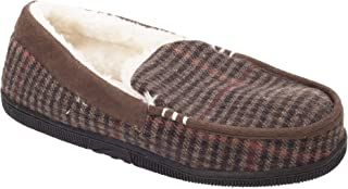 Slumberzzz Mens Check Seude Trim Moccasin Slippers