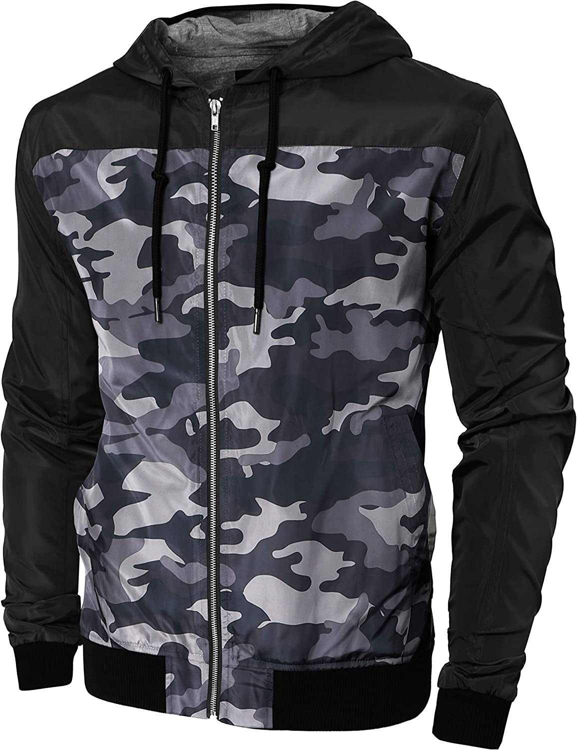 Hat and shop Beyond Mens Windbreaker Max 42% OFF Hooded Lightweight Two Tone Slim